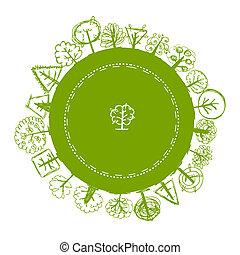 grün, verschieden, bäume, rahmen, skizze