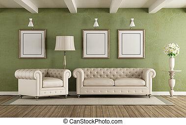 Lebensunterhalt, weißes, grün, zimmer. Wohnzimmer, langer ...