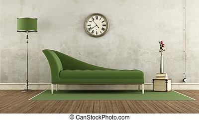 Sofa, schachbrett, grün weiß, boden. Wohnzimmer, klassisch ...
