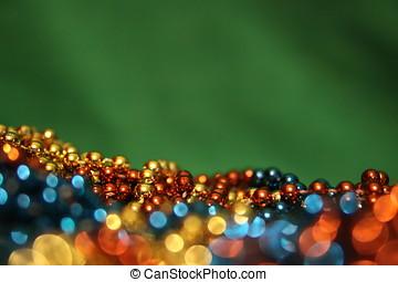 grün, weihnachten, hintergrund, mit, funkeln, girlanden
