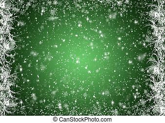 grün, weihnachten, hintergrund, mit, weißer frost