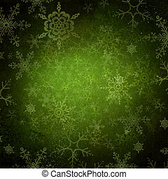 grün, weihnachtsurlaub, hintergrund, mit, schneeflocken