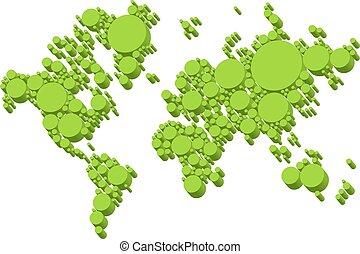 grün, weltkarte, 3d, punkte, vektor