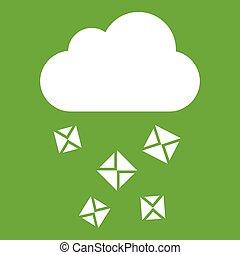 grün, wolke, hagel, ikone