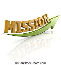 grün, wort, mission, pfeil