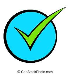 grün, zecke, prüfen markierung, ikone, karikatur