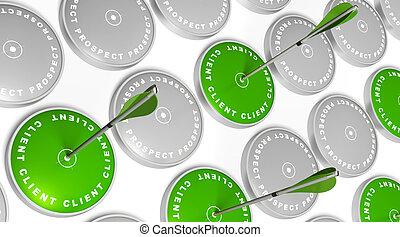 grün, ziele, mit, klient, markierung, grün, pfeile,...