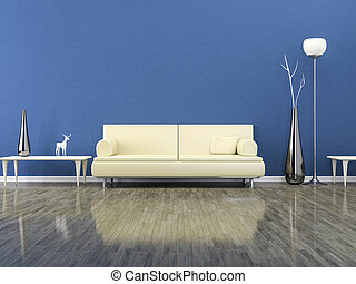 grün, zimmer, mit, a, sofa