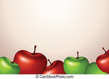 grüne äpfel, schablone, rotes