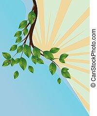 grüne blätter, banner, zweig