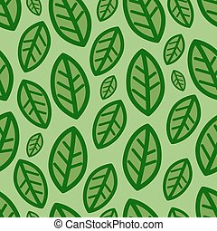 grüne blätter, vektor, muster, hintergrund