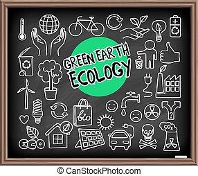 grüne erde, ökologie, gekritzel, satz