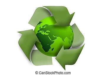 grüne erde, verwerten wieder, begriff