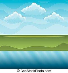 grüne hügel, blau, fluß, himmelsgewölbe, landschaftsbild