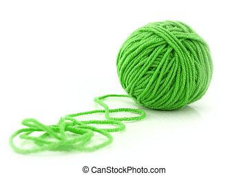 grüne kugel, fäden