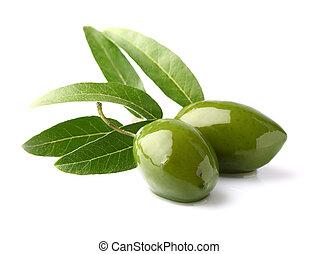 grüne oliven, mit, blätter