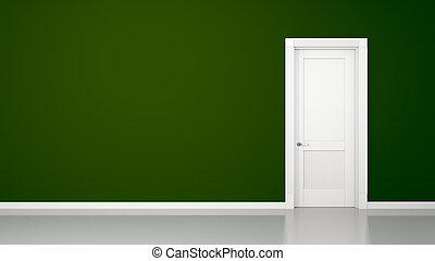 grüne wand, und, tür, hintergrund