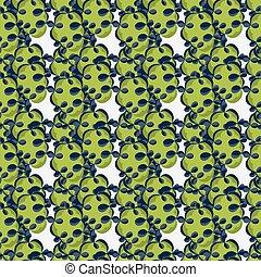 grüner abriß, gegenstände, auf, a, weißer hintergrund, seamless, muster, vektor, abbildung