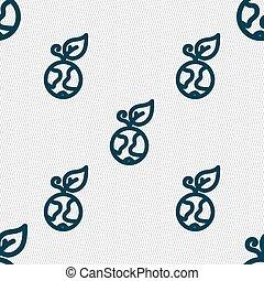 grüner apfel, erde, ikone, zeichen., seamless, muster, mit, geometrisch, texture., vektor