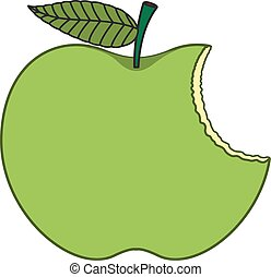 grüner apfel, gegessen