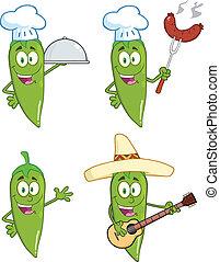 grüner chili, pfeffer, 1, sammlung