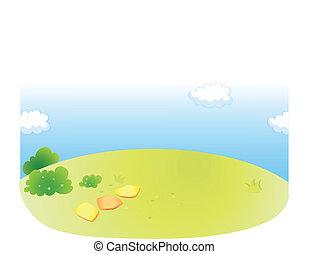 grüner himmel, landschaftsbild