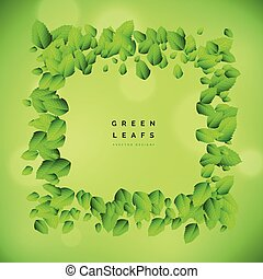 grüner hintergrund, mit, blatt, rahmen, vektor