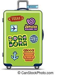 grüner koffer, für, reise
