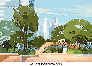 grüner park, stadtzentrum, bäume, vektor