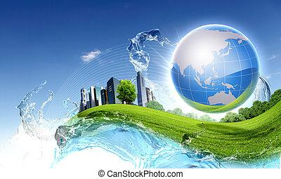 grüner planet, gegen, blauer himmel, und, sauber, natur