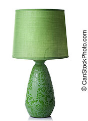 grüner schreibtisch, lampe, freigestellt, weiß