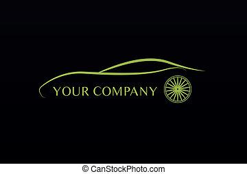 grünes auto, logo