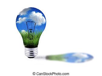 grünes gras, blau, himmelsgewölbe, in, a, lightbulb, energie, begriff