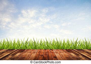 grünes gras, mit, himmelsgewölbe, und, hölzerner fußboden