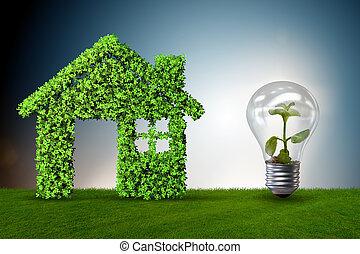 Grünes Haus, Macht, Begriff,  , 3d, übertragung