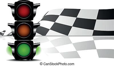 grünes kennzeichen, rennsport, licht
