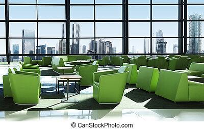 grünes sofa, auf, der, zimmer