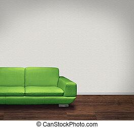 grünes sofa, weiße wand, dunkel, boden