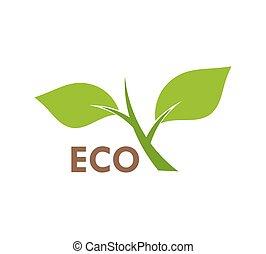 grünpflanze, eco, symbol, ikone