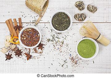 gr, お茶, -, 3, ボール, tea., 粉