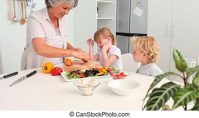 gr, cuisine, leur, petits-enfants