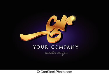 gr  g r 3d gold golden alphabet letter metal logo icon design handwritten typography