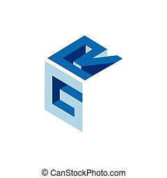 GR Initial Letter three dimension Logo vector element