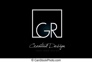GR Square Frame Letter Logo Design with Black and White Colors.