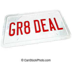 gr8, o, automobile, piastra, grande, affare, licenza, prezzo...