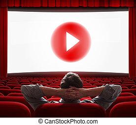 gra, środek, kino, media, ekran, online, guzik