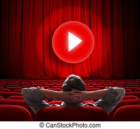 gra, środek, kino, media, ekran, online, kurtyna, guzik, czerwony