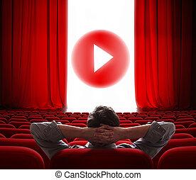 gra, środek, kino, media, ekran, online, kurtyna, otwarty, guzik, czerwony