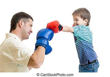 gra, boks, ojciec, koźlę, syn