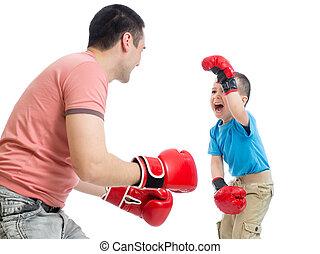 gra, boks, ojciec, syn, rękawiczki, koźlę